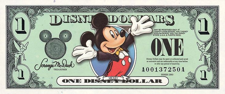 Disney dollars are a form of corporate scrip sold by The Walt Disney Company and redeemable for goods or services at many Disney facilities. Similar in size, shape and design to the paper currency of the United States most bills bear the image of Mickey Mouse, Minnie Mouse, Donald Duck, Goofy, Pluto or a drawing of one of the landmarks of the Disneyland Resort or the Walt Disney World Resort and are accepted at the company's theme parks, the Disney cruise ships, the Disney Store and at...
