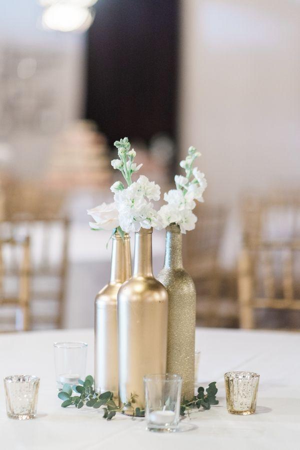 Beautiful diy gold wine bottles for centerpieces view the for Gold wine bottle centerpieces
