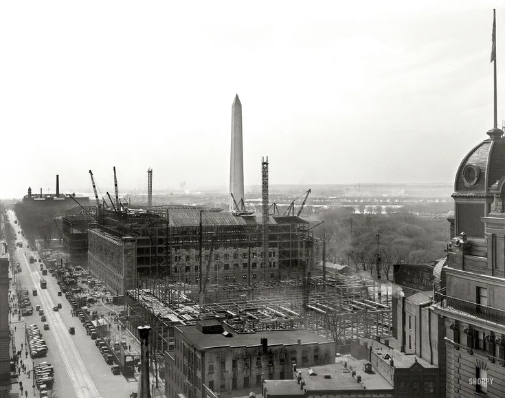 """Ca Legacy Plate >> Washington, D.C., circa 1931. """"Department of Commerce under construction from top of National ..."""