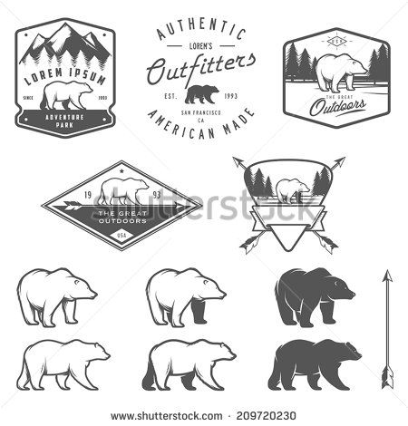 Set of vintage bear icons, emblems and labels