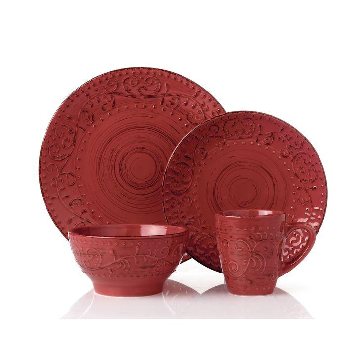 16 Piece Round Stoneware Dinnerware Set Distressed-Red-Crimson, Red