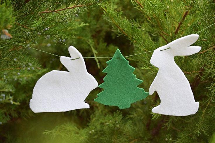 Christmas Bunny garland Felt banner Animal bunting Nursery decor Christmas party favors Baby Christmas Stocking stuffer Christmas tree decor Hare felted decor Christmas tree decor Rabbit