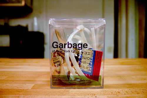 Literally one of my favourite works. This man collects garbage from New York, puts them in these plastic boxes and sells them as souvenirs.