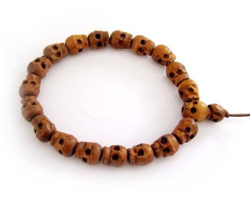 Wood Skull Beads Buddhist Prayer Wrist Mala Bracelet Ovalbuy. $5.99. carved with skull. Free Jewelry Pouch. Beads Size: 9mm. elastic cord. Material: wood