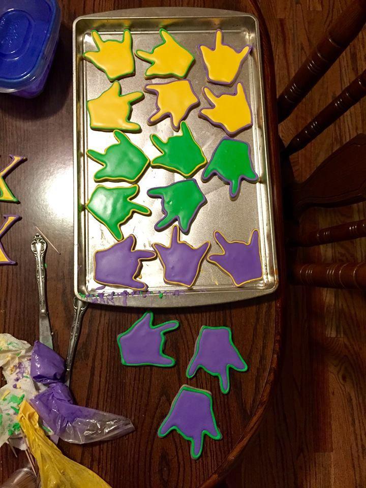 Homemade sugar cookies; Lambda chi alpha hand sign; royal icing; too pretty to eat; DIY; bake; love; sign language