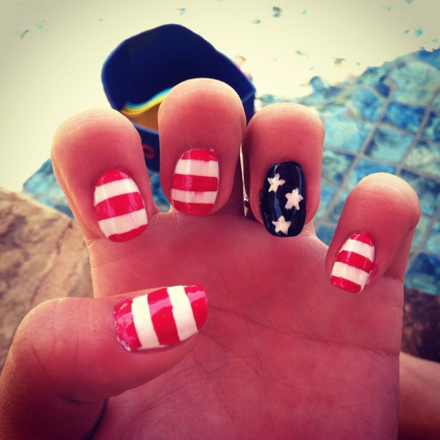 My stars and stripes nails in honor of Memorial Day. 'Merica