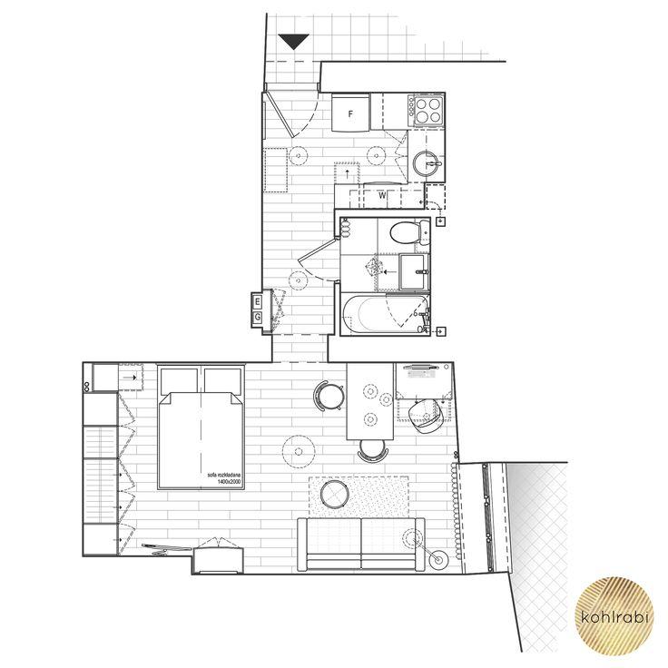 30 sm | Living room | Bedroom | Plan | Rzut | Salon | Spialnia | Kawalerka