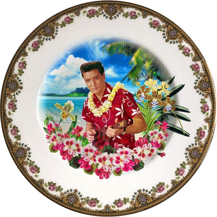Blue Hawaii - Elvis Presley - The King - Vintage Porcelain Plate - #0463 by ArtefactoStore on Etsy