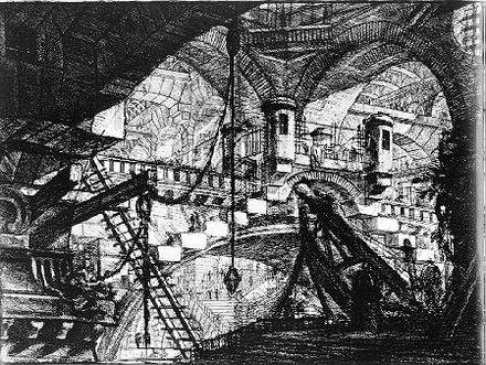 """Giovanni Battista Piranesi dit Le Piranèse: Planche XI des Prisons, dite """"L'Arche aux gradins""""."""