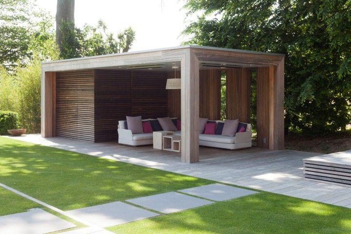 Houten poolhouse houten gastenverblijven modern bogarden poolhouse pinterest gardens - Landscaping modern huis ...