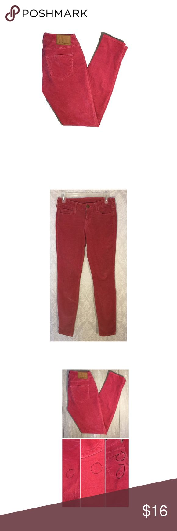 """True Religion in Red True Religion in soft red. They feel like velvet. Size 27, Inseam 29"""". These are in used condition with some flaws shown in the pic. But they still have some wear to them. Offers Welcome True Religion Jeans"""