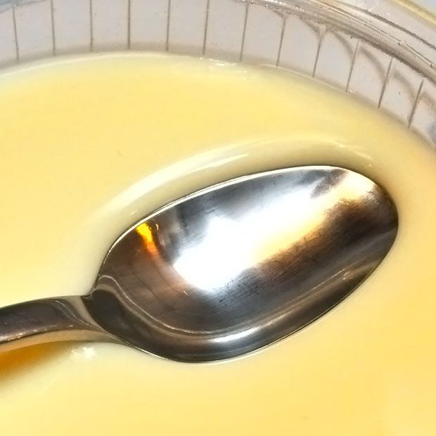 """Ginger milk curd - With only 3 ingredients you can make a tasty gel within minutes. The gel is very fragile and easily """"looses"""" liquid, in this case whey, which is seen as a clear drop under the spoon. This loss of l..."""