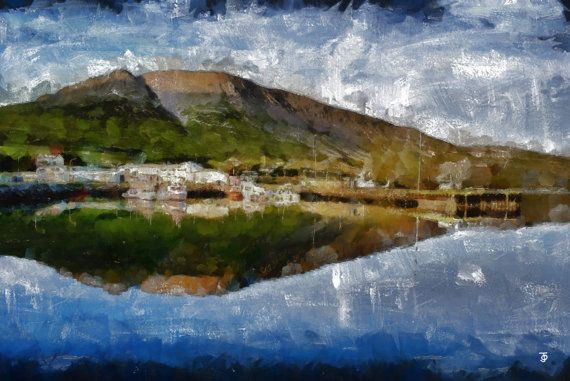 Stretched Canvas Print of Talknafjordur Harbour by ArtbyOlafur, $73.00