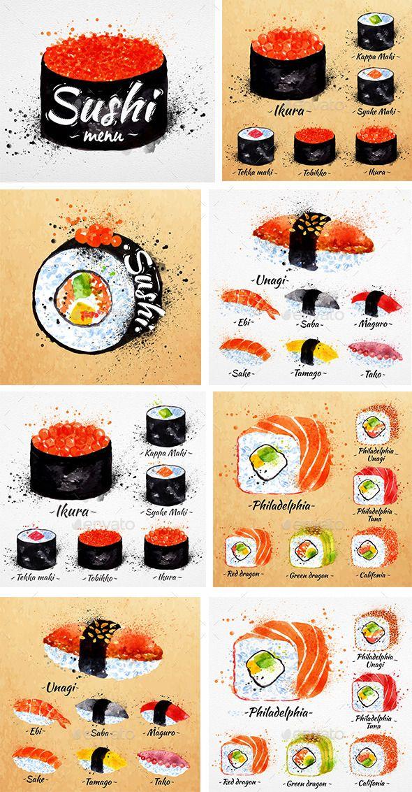 Watercolor Sushi Menu