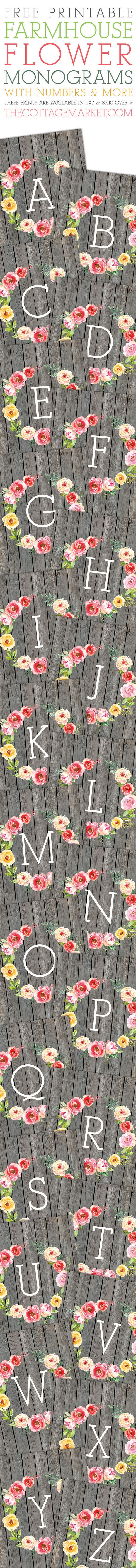 Free Printable Farmhouse Flower Monograms and More!