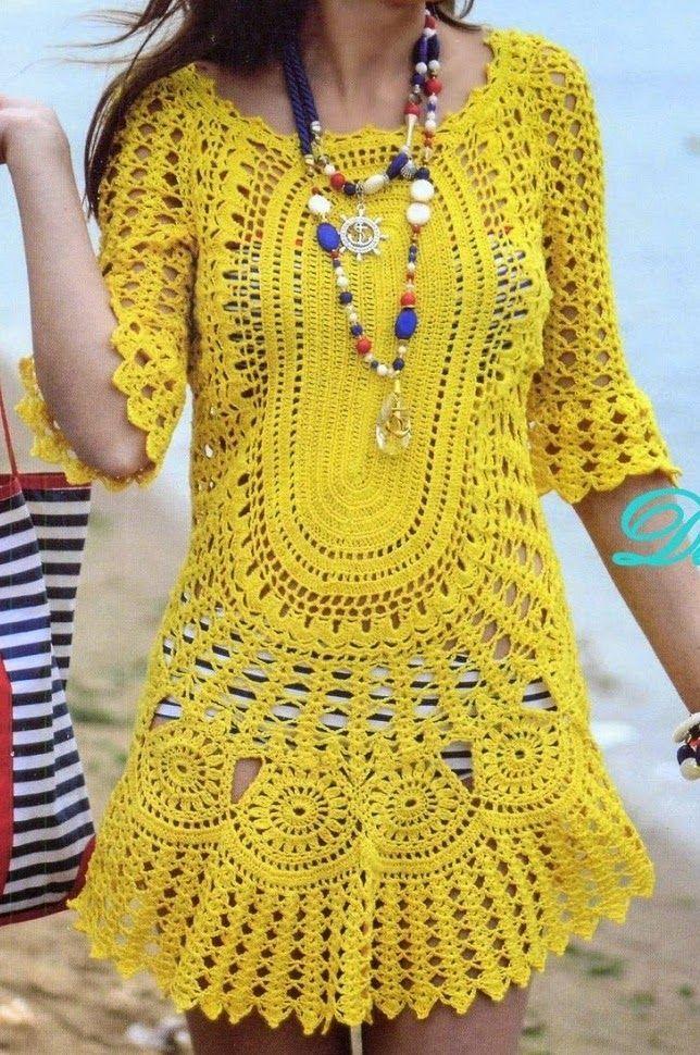 Saida de Praia Amarela em Croche com flores e manga, pode usar como blusa ou vestido, veja o gráfico e dicas de como fazer o croche