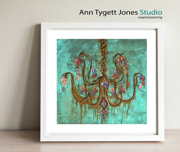 Abstract Teal Chandelier, giclee print of original abstract chandelier painting, modern wall art for contemporary interior, chandelier art by anntygettjonesstudio on Etsy