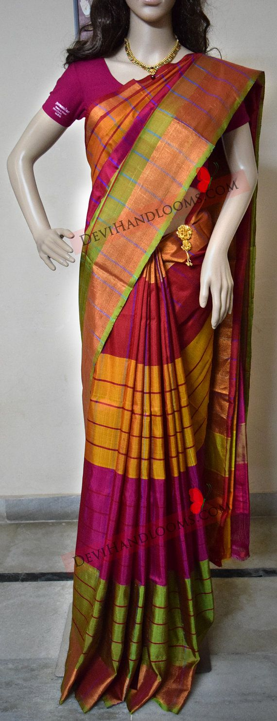 Check out this item in my Etsy shop https://www.etsy.com/in-en/listing/384352732/uppada-multi-color-silk-saree-with-gold