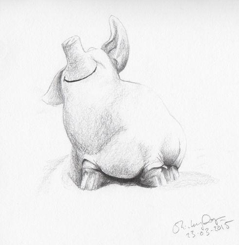 Happy Piggy. Pencil sketch. Shirley Dougan