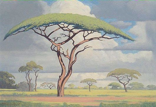 Another great Bushveld landscape painting by Jacobus Hendrik Pierneef (1886-1957) - South African Art, Art Galleries in South Africa, South African Artists