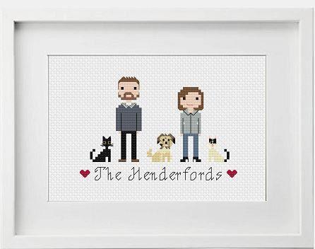 Personalised Custom Anniversary Gift Portrait Wall Art - Personalised Anniversary Gift - Family Portrait - Cross Stitch Pixel People Art