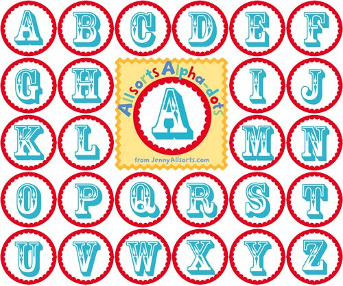 fun printable alphabet circles for banner making from jenny at allsorts via one pretty thing