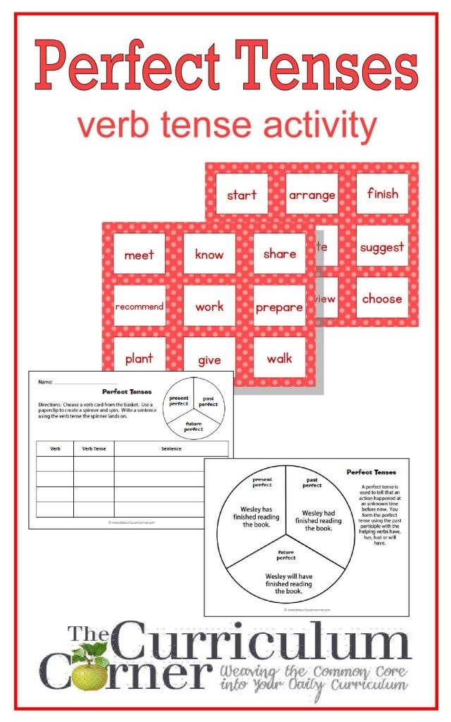 Perfect Verb Tense Activity | Center Activity FREE from The Curriculum Corner