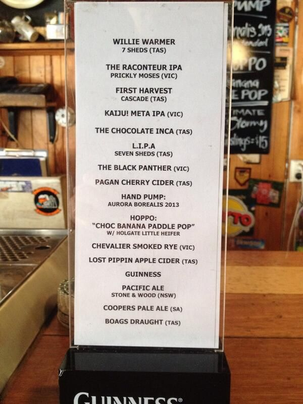 One for our Hobart friends - three Seven Sheds beers on tap at the New Sydney.