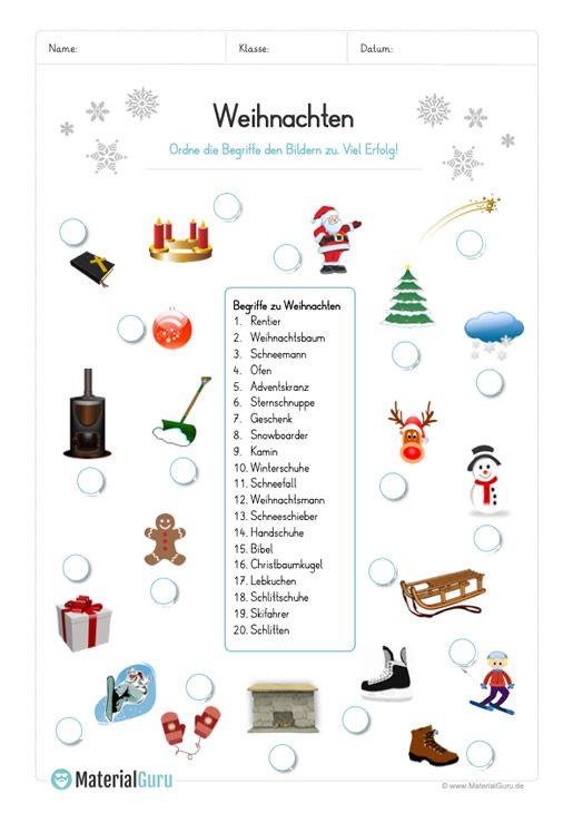 arbeitsblatt 20 abbildungen zu weihnachten zuordnen. Black Bedroom Furniture Sets. Home Design Ideas