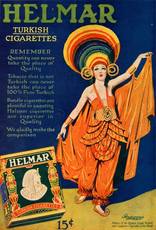"Helmar Cigarettes. Absolutely stunning costume! I like the hat, the ""pajamas"" and the use of contrasting colors."