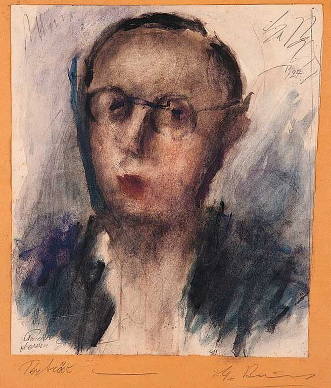 Portrait, watercolour, 1927, George Bouzianis