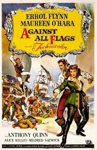"""Against All Flags is a 1952 American pirate film starring Errol Flynn as Brian Hawke, Maureen O'Hara as Prudence """"Spitfire"""" Stevens and Anthony Quinn as Roc Brasiliano. In 1700, British officer Brian Hawke infiltrates a group of pirates located on Libertatia on the coast of Madagascar, and falls in love with pirate captain """"Spitfire"""" Stevens."""