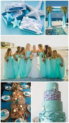Starfish Theme Beach Wedding Inspiration with Blue Color and Wedding Favors Ideas from HotRef.com #beachwedding