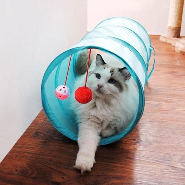 Pet Cat Tunnel Passageway Tubes Collapsible Crinkle Kitten Play