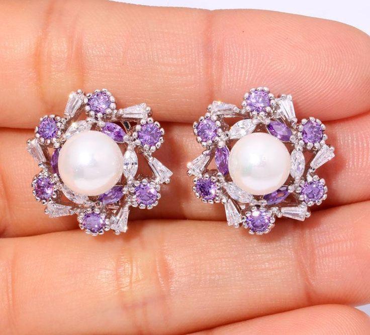 """Amethyst White Topaz & Pearl Women Jewelry Gems Silver Stud Earrings 7/8"""" FH5989 #Huajewelry #StudEarrings"""