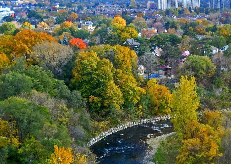 Window view of Weston, Ontario in late October (Weston Founded in 1796) - Cruikshank Park Weston 22K