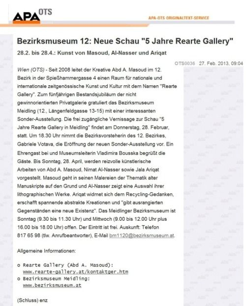 5 years Rearte Gallery in Meidling  ِaustrian press agency