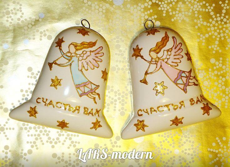 Christmas Bells Decor Ornaments ANGEL - Hand Painted Porcelain LARS-modern. (h-7.0 cm) - $15,0. Колокольчик фарфоровый АНГЕЛ - Авторская витражная роспись по фарфору от LARS-modern. (h-7,0 cm) - $15.0 / в наличии и под заказ.
