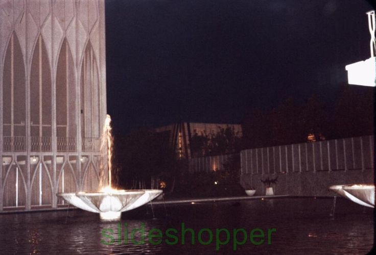 Slide Photo Expo 1962 Seattle World's Fair Night View Science Center Fountains