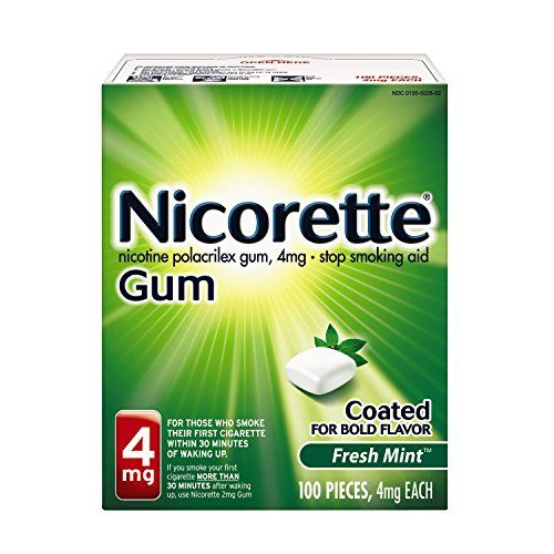 Nicorette Coated Gum 4Mg, 100 Pieces (Fresh Mint)