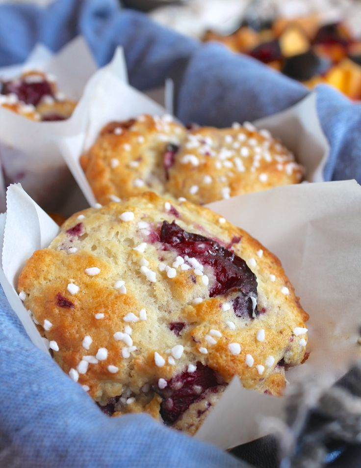 Perfect Plum Muffins are the most light and fluffy muffins. You'll use this recipe over and over because it has yogurt and no butter; best reviews!