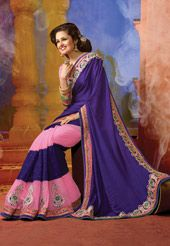 Dark Purple Faux Georgette Jacquard and Net Jacquard Saree with Blouse