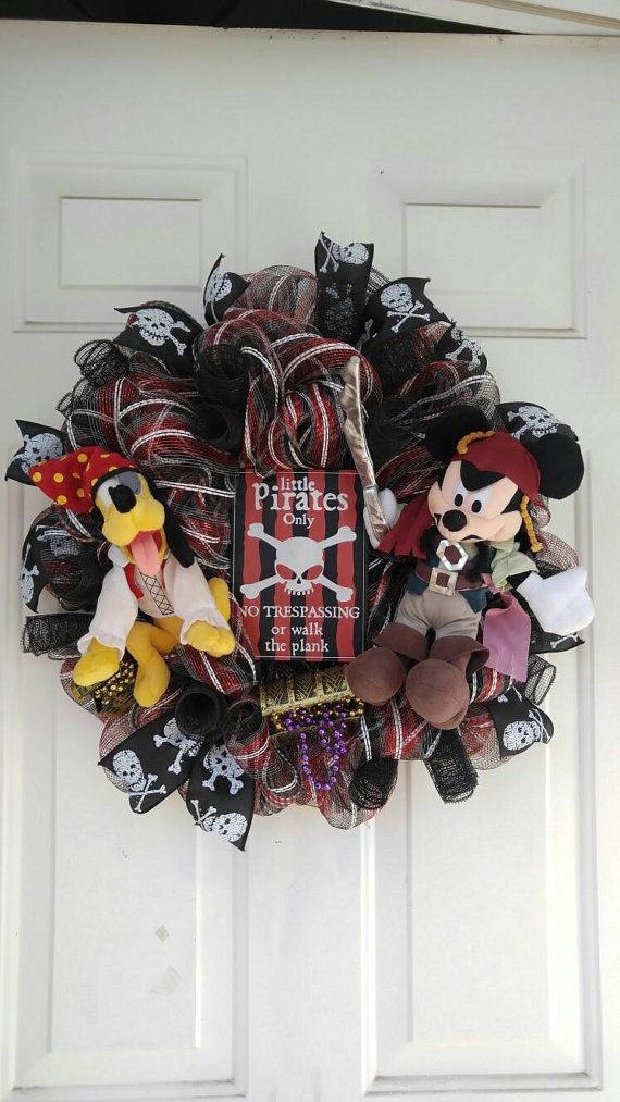 Hey, I found this really awesome Etsy listing at https://www.etsy.com/listing/286623367/mickey-mouse-pirate-wreath-disney-wreath