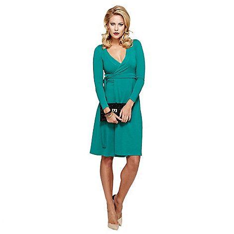 HotSquash Emerald Green Wrap Dress in clever fabric | Debenhams