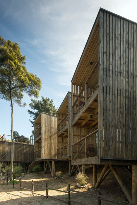 Rough-sawn pine used to build low-cost Hostal Ritoque in Chile.