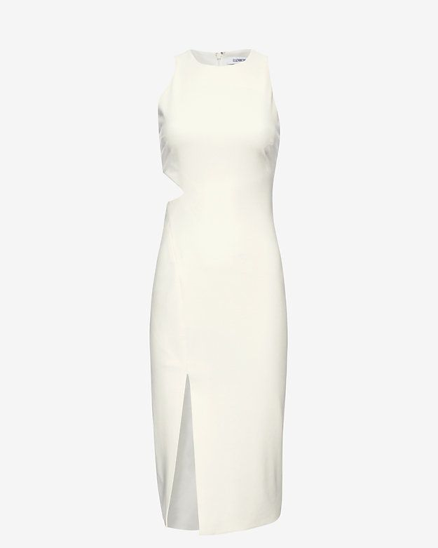 Elizabeth and James Giulia Cut Out Slit Dress: An alluring cut out at the side of waistline and off center slit at hem. Round neck. Zipper closure at back. Lined. In ivory.      Fabric: 54% polyester/38% viscose/8% elastane Lining: 97% polyester/3% spandex Model Measurements: Height 5'10; Waist 25 ; ...