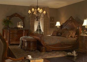 Michael Amini Aico Cortina King Sleigh Bedroom Collection.