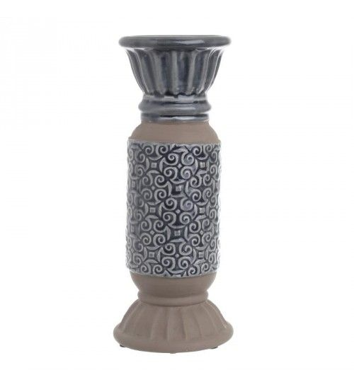 CERAMIC CANDLE HOLDER IN CREME_GREY COLOR D11X28