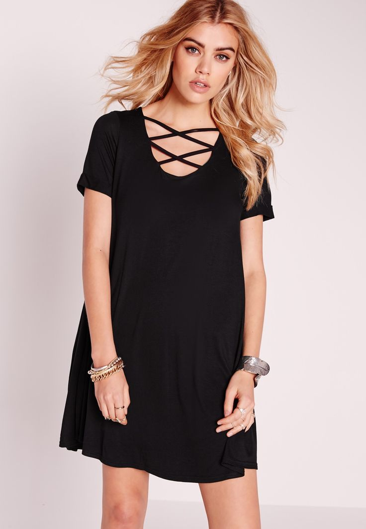 Missguided - Lace Up Front Short Sleeve Swing Dress Black