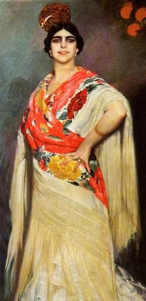 Manuel Benedito y Vives: Retrato de Pastora Imperio con peina y mantón